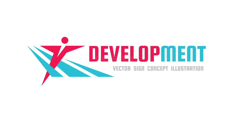 Desenvolvimento - ilustração do conceito do molde do logotipo do vetor caráter humano Figura abstrata do homem sinal dos povos Es ilustração do vetor