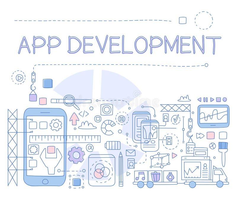 Desenvolvimento Infographics do App Ilustração do vetor ilustração stock