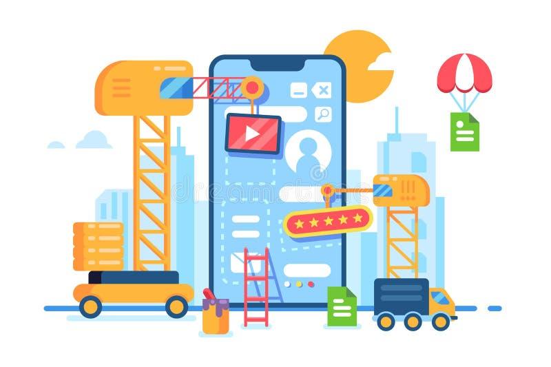 Desenvolvimento móvel da construção do app Processo creativo ilustração royalty free