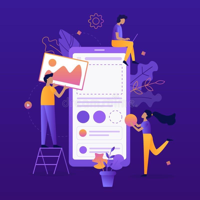 Desenvolvimento móvel do app ilustração stock