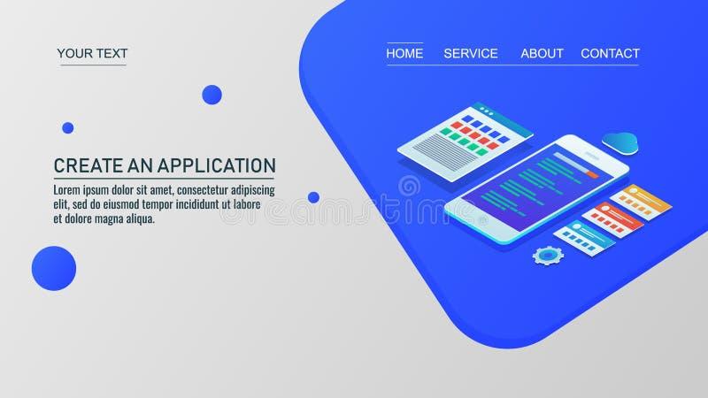 Desenvolvimento móvel do app, aplicação web criativa, programação de software, codificação, vetor de aterrissagem do molde da pág ilustração royalty free