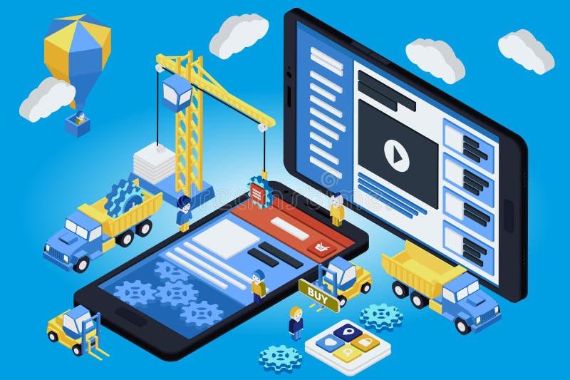Desenvolvimento móvel do App, equipe experiente 3d liso isométrico ilustração royalty free