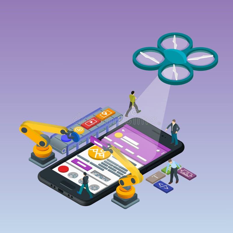 Desenvolvimento móvel do App, equipe experiente Telefone 3d preto isométrico liso Gestão e gestão do projeto ilustração do vetor