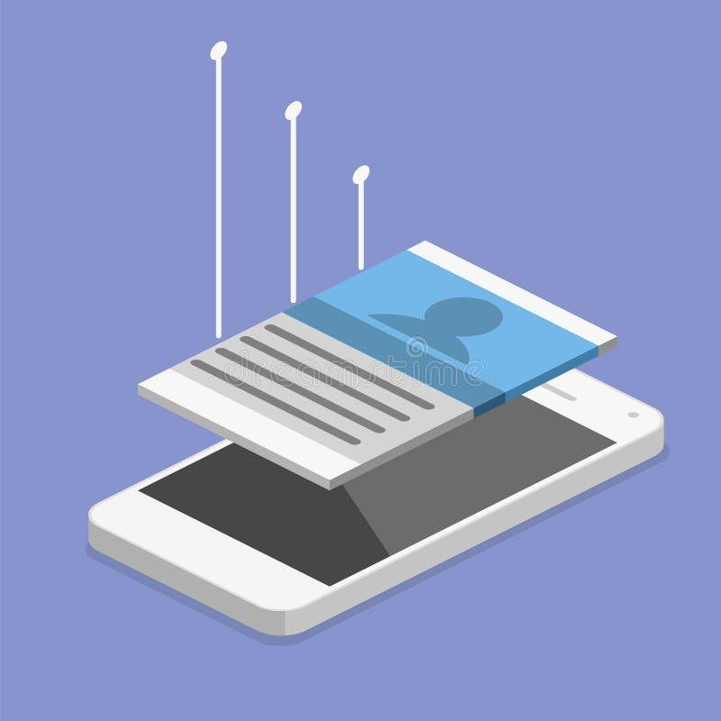 Desenvolvimento móvel isolado 3D liso isométrico do app ilustração royalty free