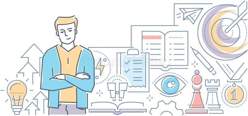 Desenvolvimento pessoal - linha moderna ilustração do vetor do estilo do projeto ilustração do vetor