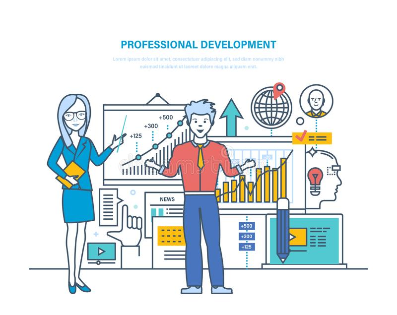Desenvolvimento profissional Qualidades profissionais, indivíduo da modernização e éticas, habilidades da melhoria ilustração do vetor