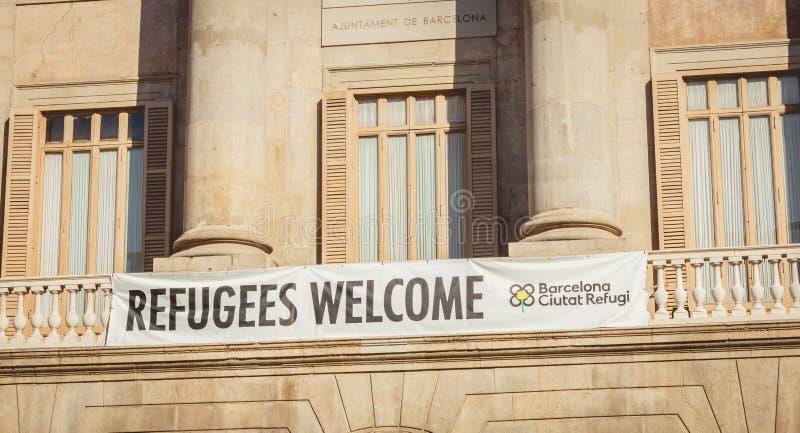 Deseo de la bandera en la recepción inglesa a los refugiados foto de archivo libre de regalías