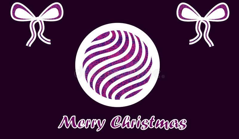 Deseo de papel púrpura de la Feliz Navidad ilustración del vector