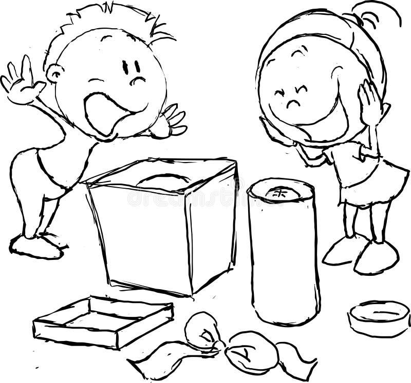 Deseo satisfecho - los niños disfrutan el desempaque de los regalos ilustración del vector