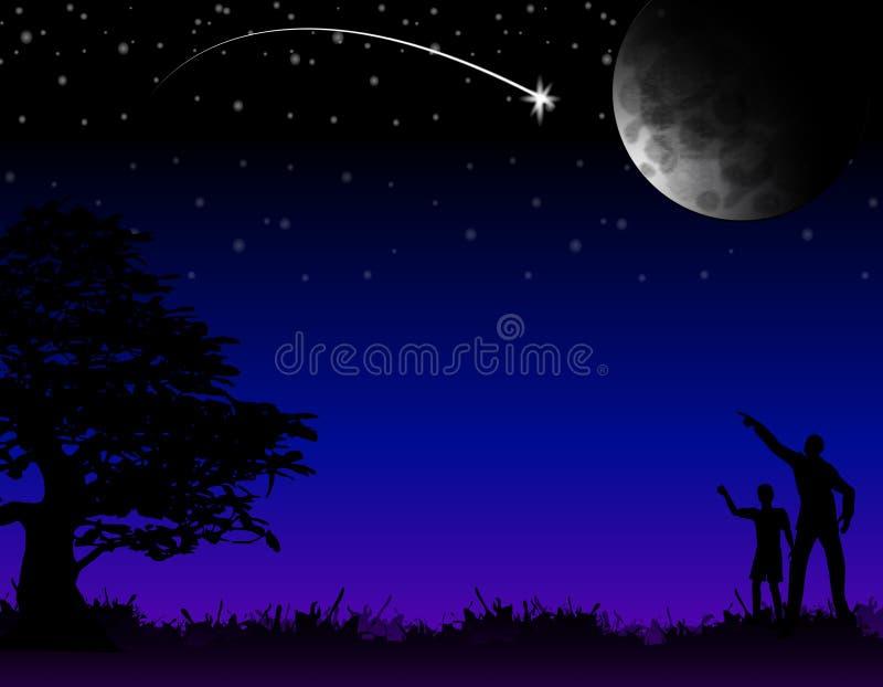 Deseo sobre la estrella el caer de A ilustración del vector