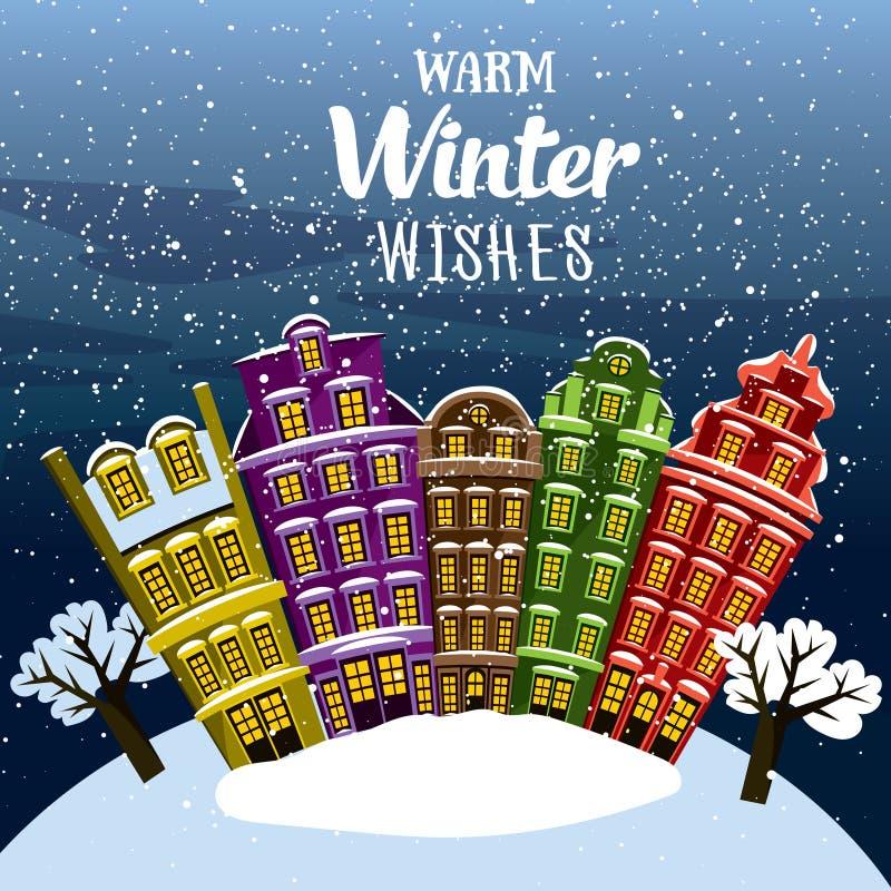 Deseos calientes del invierno Poca ciudad debajo de la nieve Vector la tarjeta de felicitación ilustrada, postal, invitación ilustración del vector