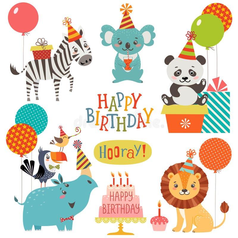 Deseos lindos del cumpleaños de los animales ilustración del vector