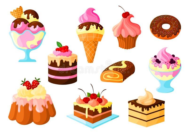 Deserów tortowi cukierki, lody wektorowe ikony ustawiać ilustracja wektor