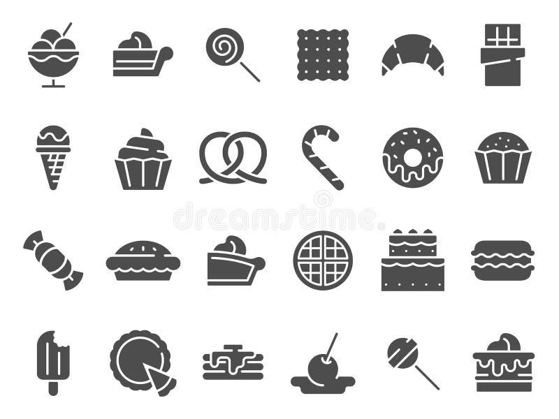 Deser sylwetki ikona Słodcy słodka bułeczka torty, deserowy lody i czekolad pasztetowe wektorowe ikony ustawiający, ilustracja wektor