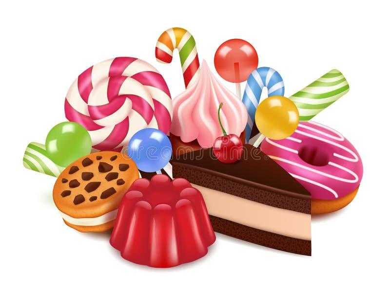 Deserowe ilustracje Tło z domowej roboty tortami, czekoladowego cukierku lizakiem i cukierkami, Wektorowi wysocy res obrazki royalty ilustracja