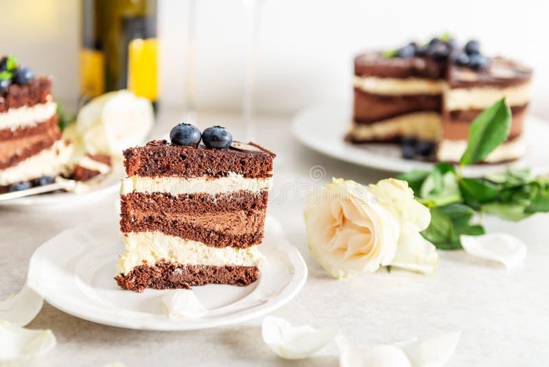 Deserowej menu Belgijskiej czekolady P?atowaty Gateau obraz royalty free
