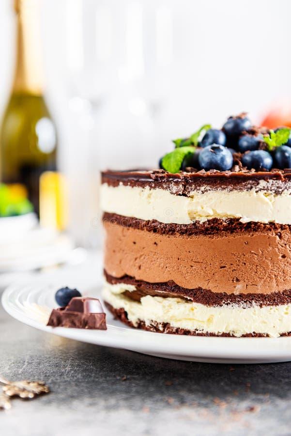 Deserowej menu Belgijskiej czekolady P?atowaty Gateau zdjęcia stock