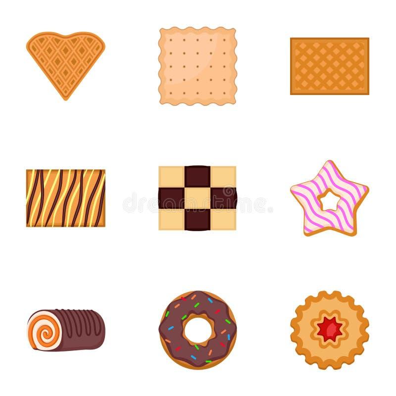 Deserowy ciastko ikony set, mieszkanie styl royalty ilustracja