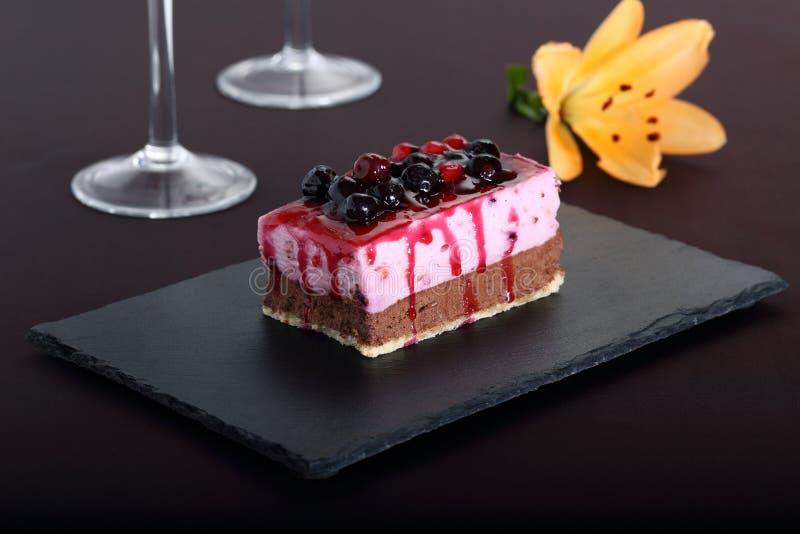 Deserowy słodki tarta z jagodami obraz stock