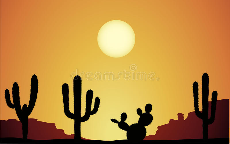 Desert 1. Deserts landscape with cactus silhouettes royalty free illustration