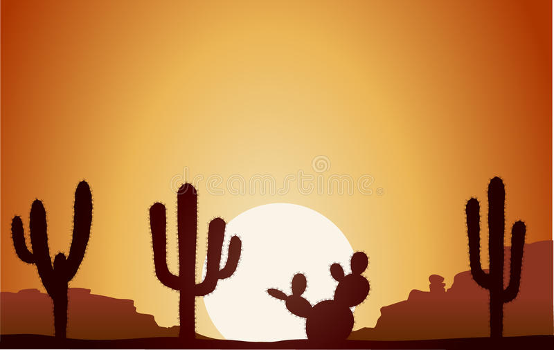 Desert 2. Deserts landscape with cactus silhouettes stock illustration