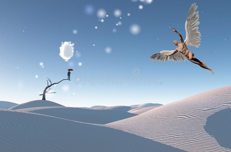 Desert Angel. Surreal white desert. Man with red umbrella stands on a dry tree. Naked man with wings represents angel. Human elements were created with 3D vector illustration