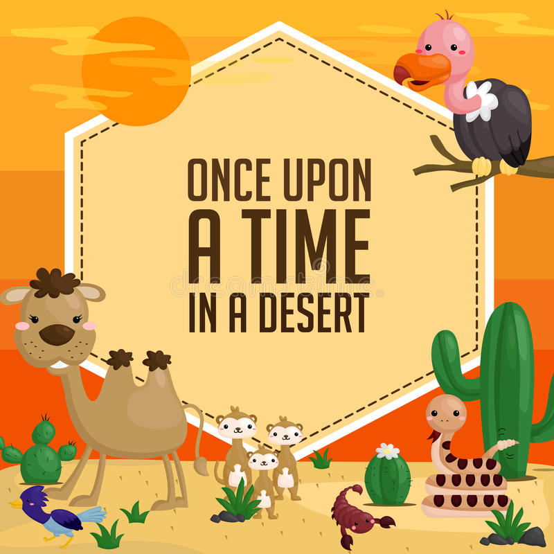 Desert animal card. A card with a lot of desert animal royalty free illustration