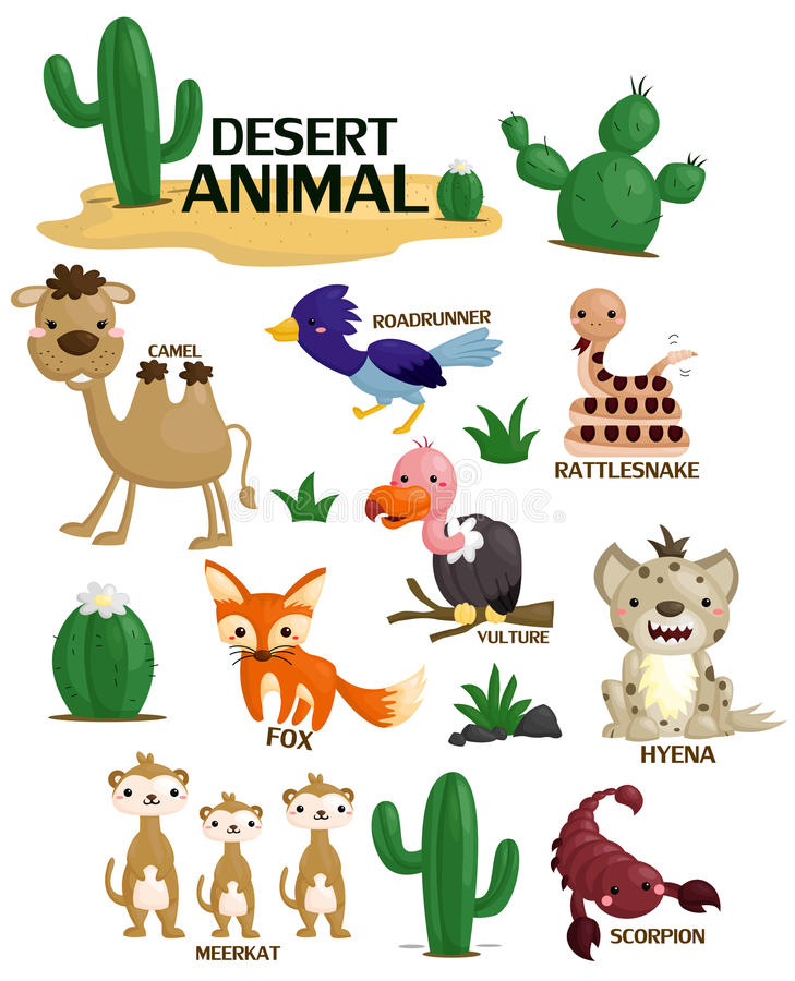 Desert animal vector set royalty free illustration