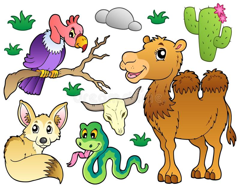 Desert animals collection 1 vector illustration