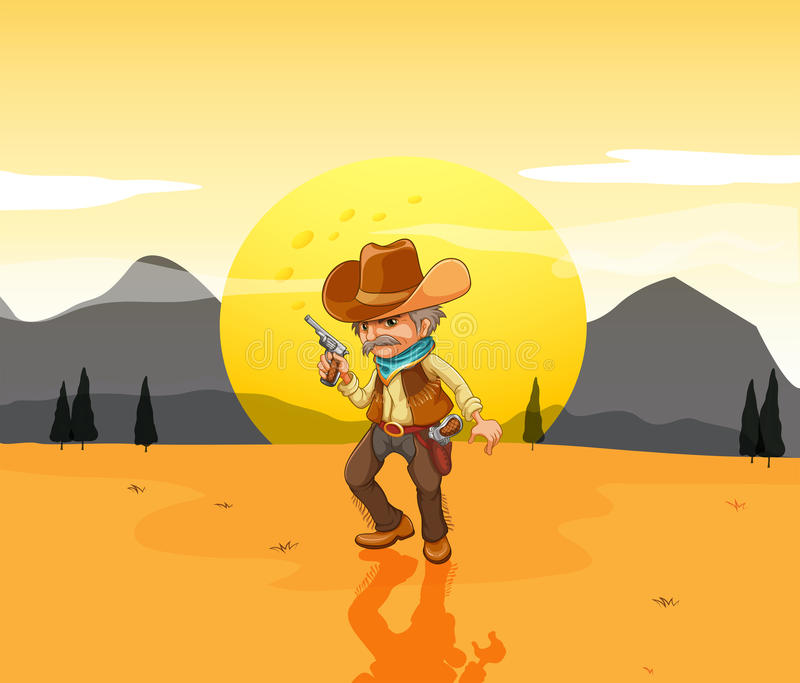 Download A Desert With An Armed Cowboy Stock Vector - Illustration of male, image: 33314514