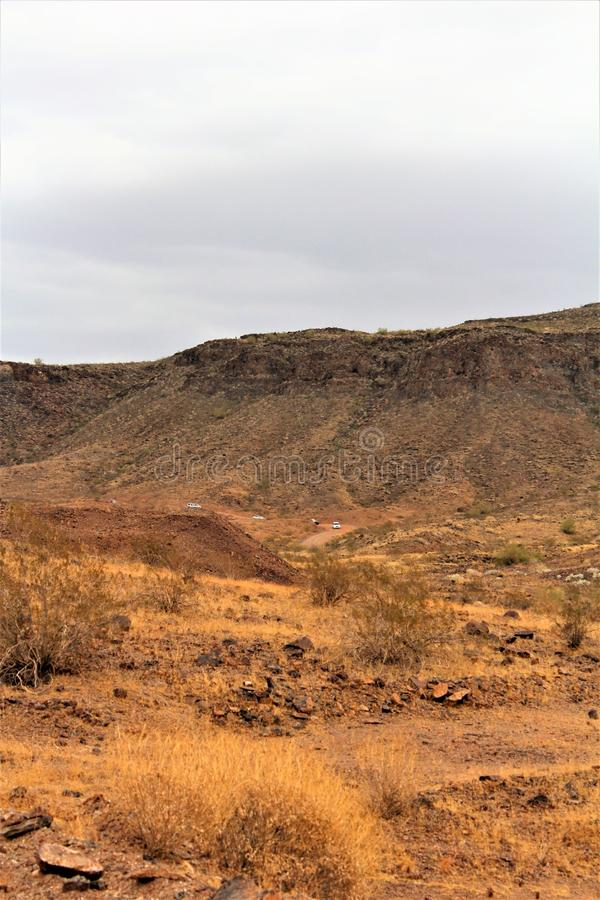 The Desert Bar, Parker, Arizona, United States. Scenic landscape and vegetation view in the surrounding area of The Desert Bar, situated in the Buckskin stock images