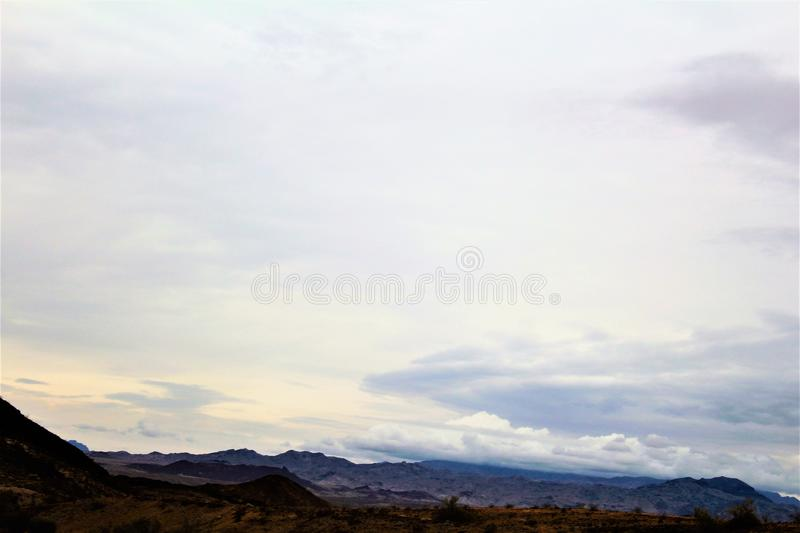 The Desert Bar, Parker, Arizona, United States. Scenic landscape and vegetation view in the surrounding area of The Desert Bar, situated in the Buckskin royalty free stock photography