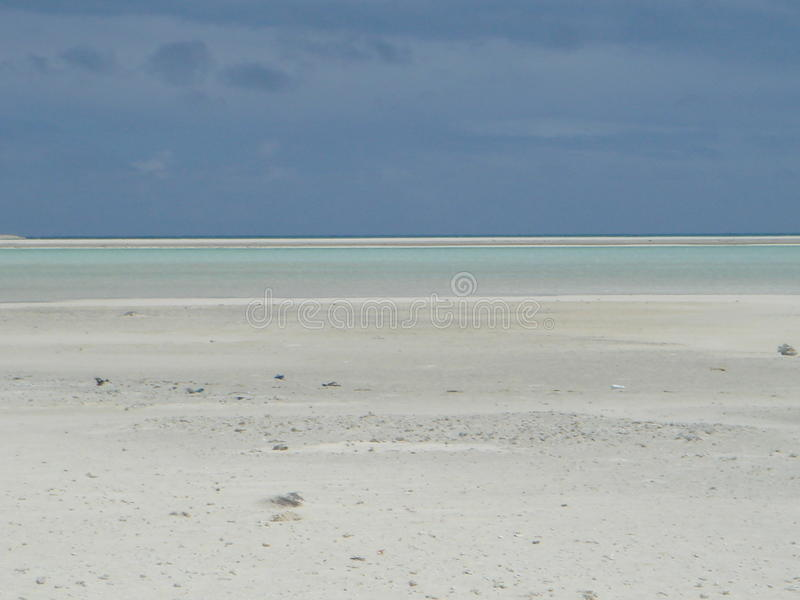 Desert beaches. A few of the deserted beaches on a small atoll of islands royalty free stock images