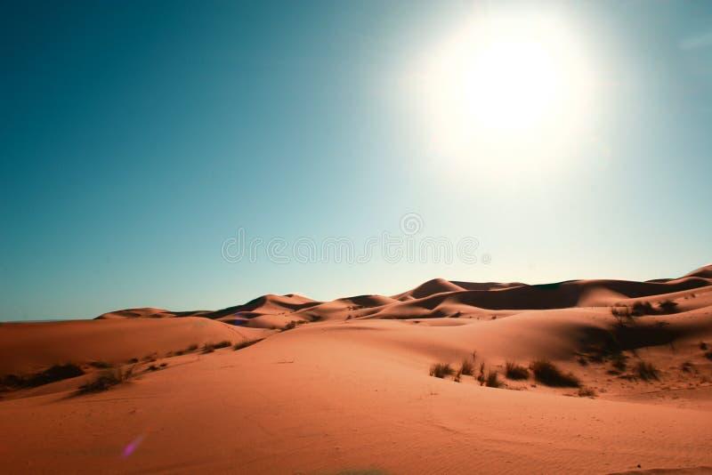 Desert, blue sky and sun stock photo
