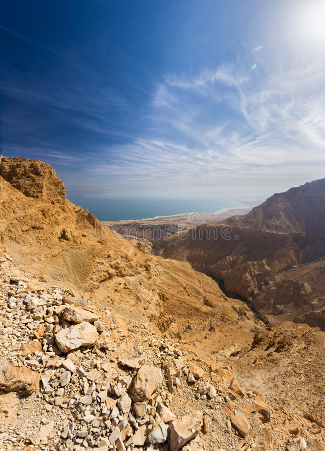 Desert canyon and Dead sea. royalty free stock image