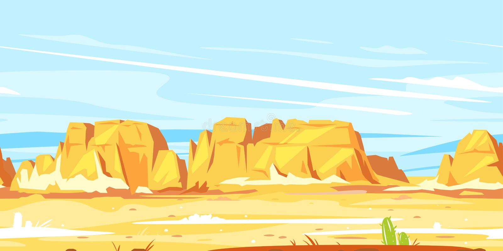 Desert canyon landscape game background royalty free illustration