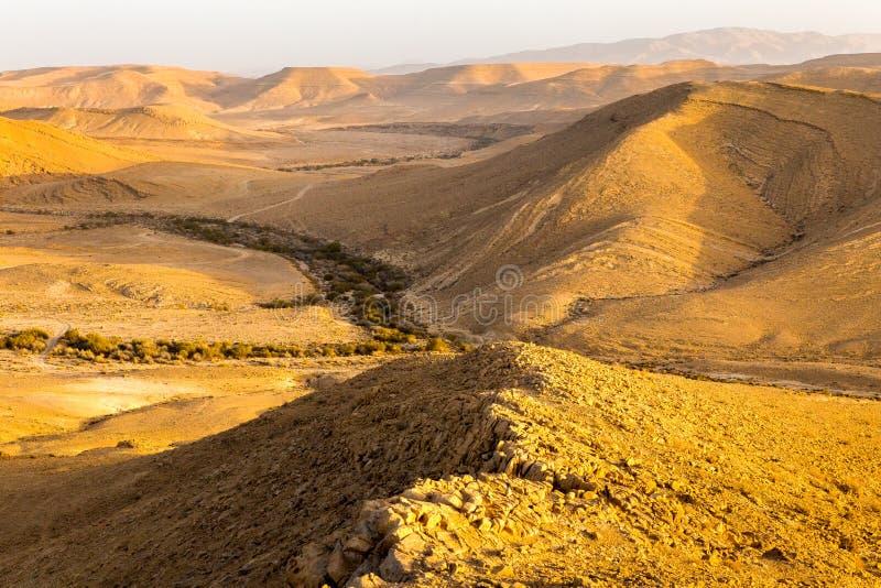 Desert mountains ridge canyon, south Israel landscape. Desert canyon mountain ridge cliffs scenic landscape sunset view, Arif crater Negev desert, travel Israel royalty free stock photo