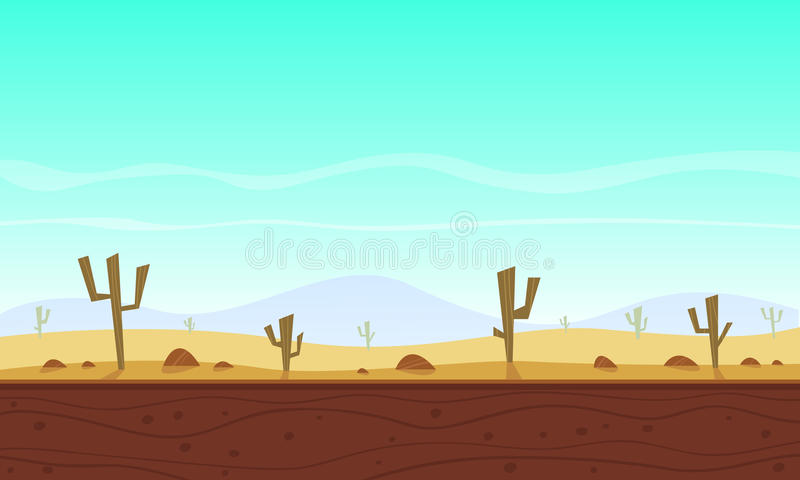 Desert cartoon game background stock illustration