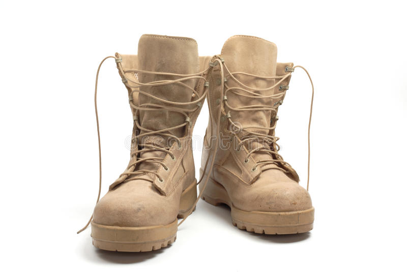 Desert combat boots,. Desert brown canvas combat boots royalty free stock photos