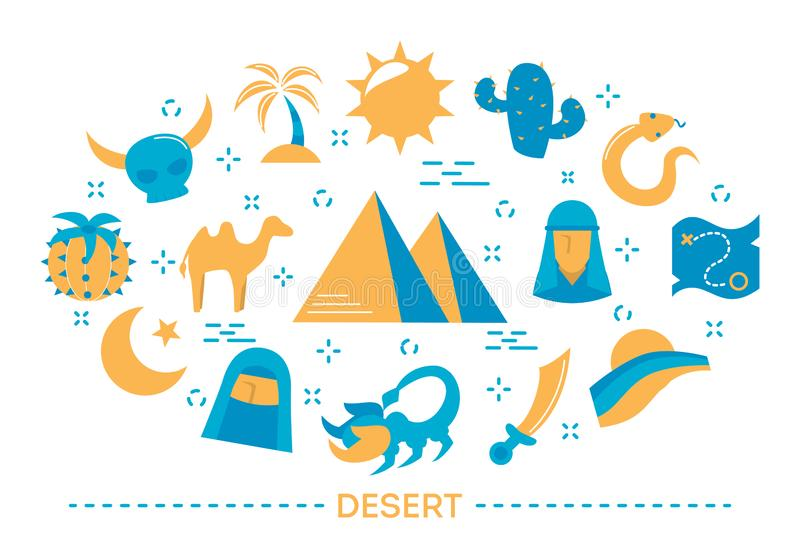 Desert concept. Sun and cactus, map with a road and sand vector illustration