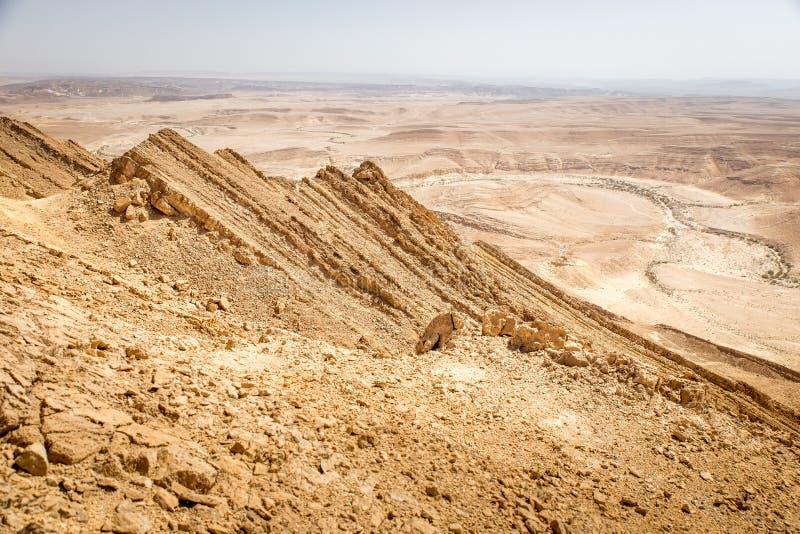 Desert crater mountain ridge cliffs landscape view, Israel nature. Desert crater Arif mountains ridge cliffs scenic view landscape, travel destination nature royalty free stock images