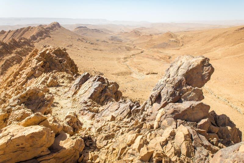 Desert crater mountain ridge cliffs landscape view, Israel nature. Desert crater Arif mountains ridge cliffs scenic view landscape, travel destination nature royalty free stock photography