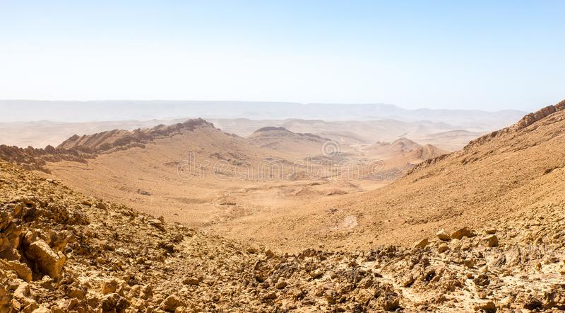Desert crater mountain ridge cliffs landscape view, Israel nature. Desert crater Arif mountains ridge cliffs scenic panorama view landscape, travel destination royalty free stock photos