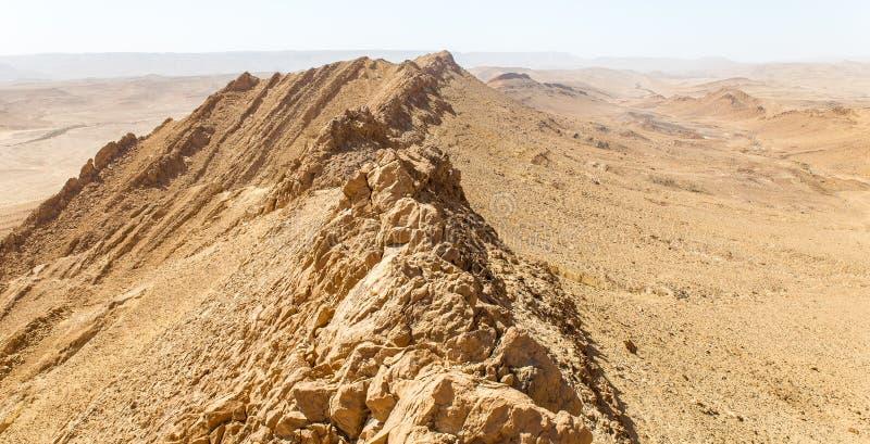 Desert crater mountain ridge cliffs landscape view, Israel nature. Desert crater Arif mountains ridge cliffs scenic view landscape, travel destination nature stock photography