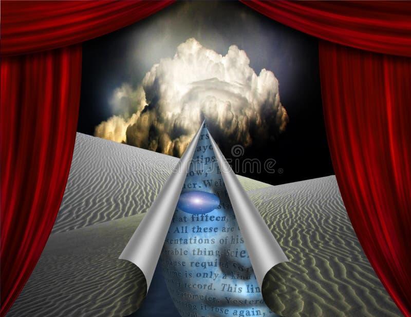 Desert curtain scene opened to another vector illustration