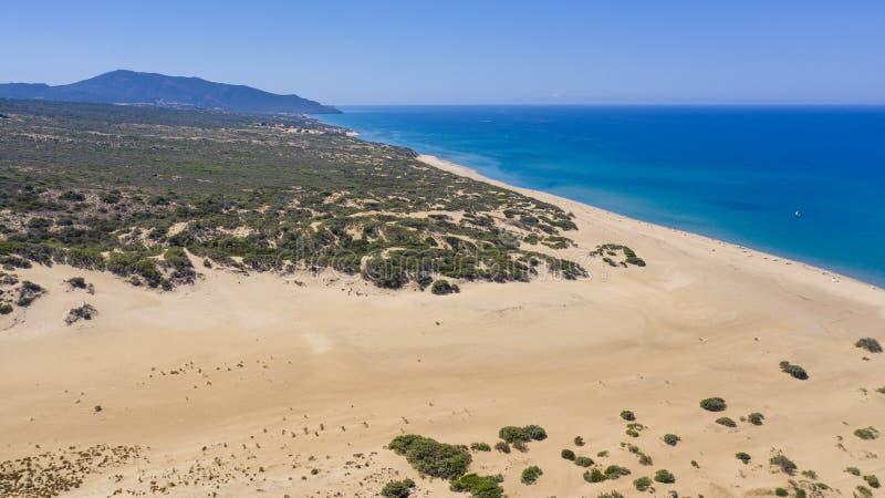 Desert de piscinas in Sardinia. Aerial view stock photography