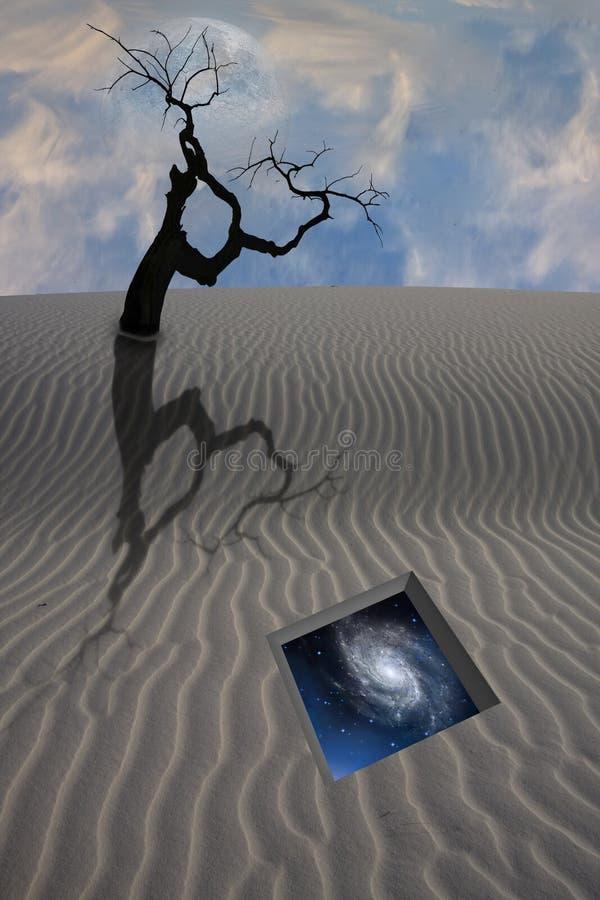 Desert dune with gate to stars royalty free illustration