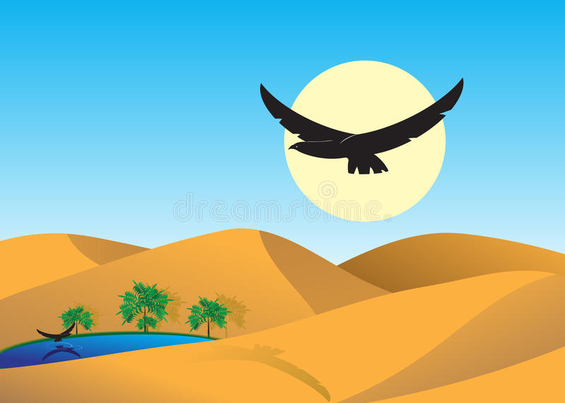 Desert. Dunes to deserts, the lake with palm trees and two eagles royalty free illustration