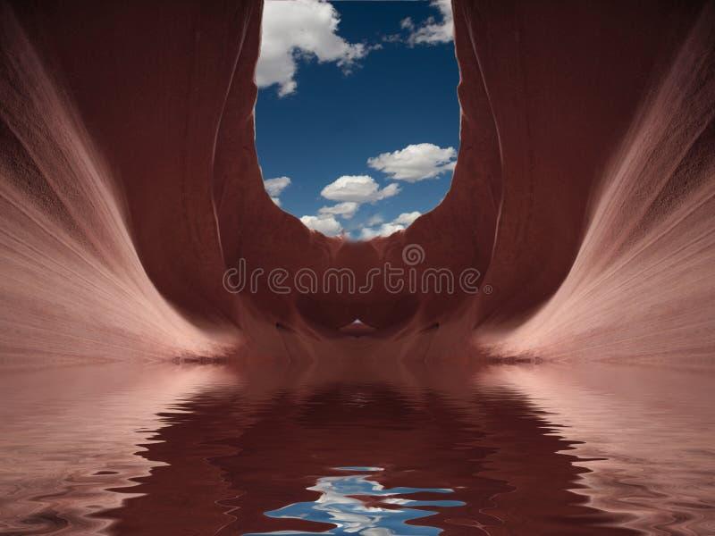 Desert Flood. In red stone cavern stock illustration