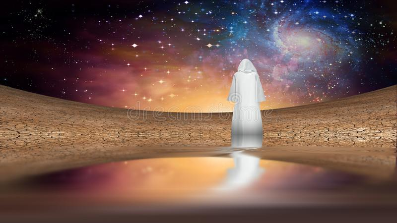 White Monk. Desert and galactic sky with wandering cloaked figure. Some elements image credit NASA stock photography
